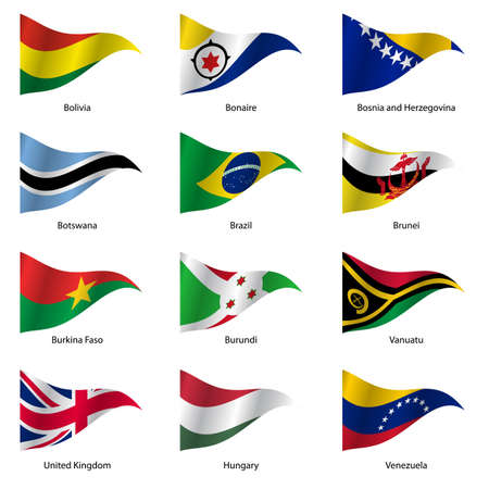 united states flag: Set  Flags of world sovereign states triangular shaped. Vector illustration. Illustration