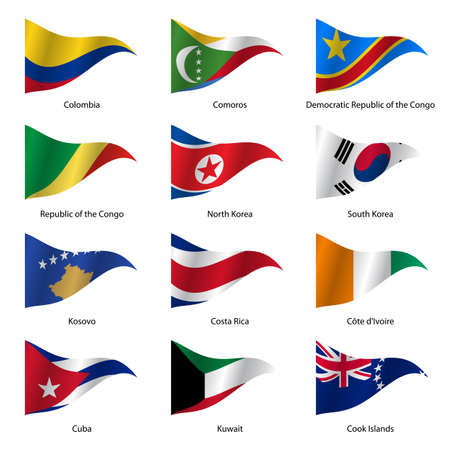 republic of colombia: Set  Flags of world sovereign states triangular shaped. Vector illustration. Illustration