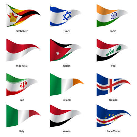 world design: Set  Flags of world sovereign states triangular shaped. Vector illustration. Illustration