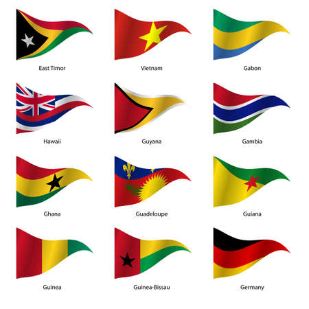 world flags: Set  Flags of world sovereign states triangular shaped. Vector illustration. Illustration