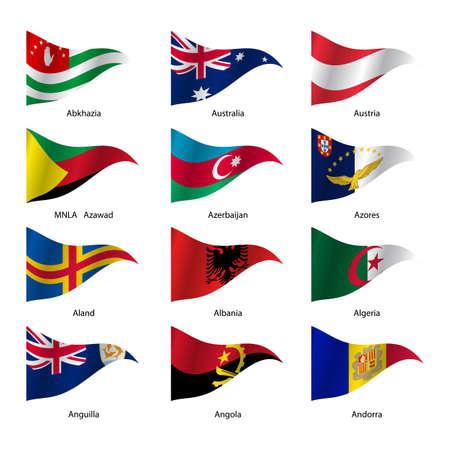 sovereign: Set  Flags of world sovereign states triangular shaped. Vector illustration. Illustration