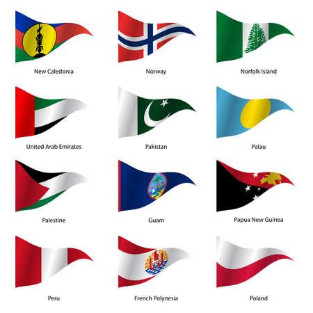 banderas del mundo: Set Banderas de estados soberanos mundo de forma triangular. Ilustración del vector.