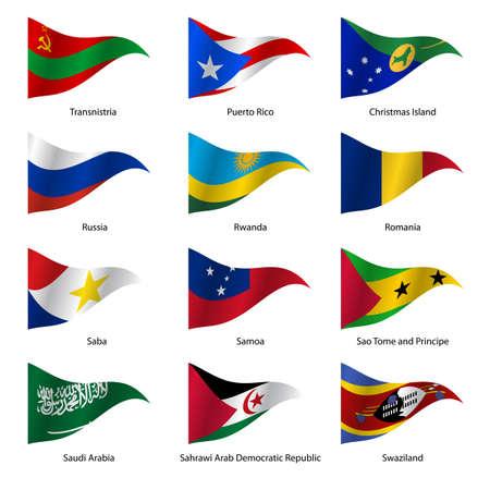 Set  Flags of world sovereign states triangular shaped. Vector illustration. Illustration
