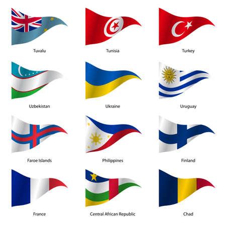 bandera de uruguay: Set Banderas de estados soberanos mundo de forma triangular. Ilustraci�n del vector.