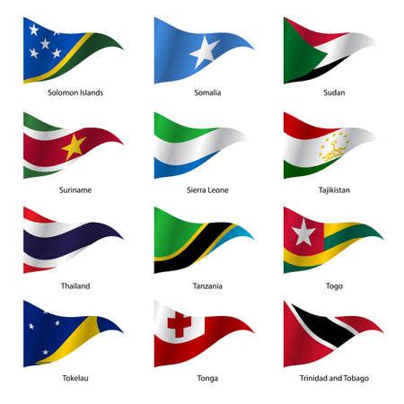 world flags: Set  Flags of world sovereign states triangular shaped. Vector illustration. Illustration