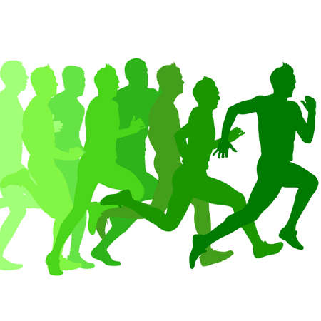 Set of green silhouettes. Runners on sprint, men. vector illustration. Çizim