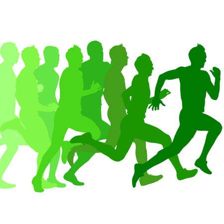 Set of green silhouettes. Runners on sprint, men. vector illustration. Illustration