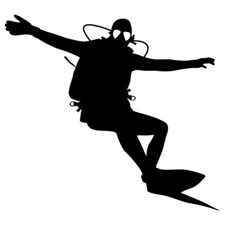immersion: Black silhouette scuba divers. Vector illustration. Illustration