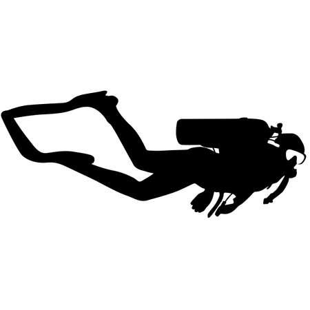 scuba: Black silhouette scuba divers. Vector illustration. Illustration