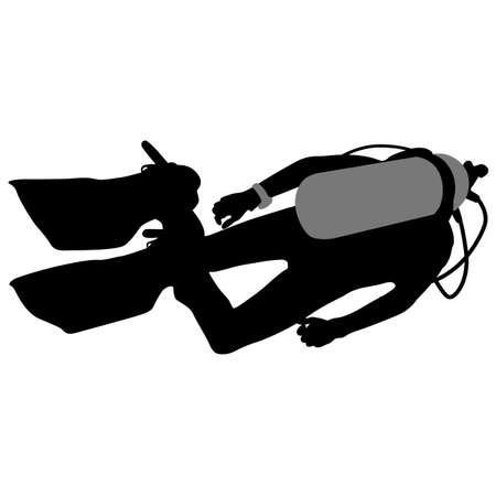 divers: Black silhouette scuba divers. Vector illustration. Illustration