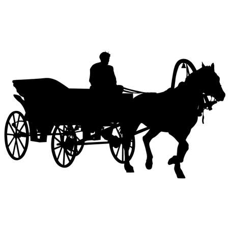 coachman: Silhouette  horse and carriage  with coachman. Vector illustration.