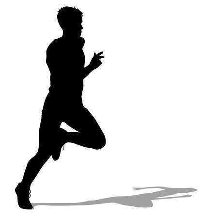 jogging: Silhouettes Runners on sprint, men. vector illustration.