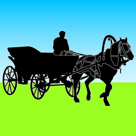 horse cart: Silhouette  horse and carriage  with coachman. Vector illustration.