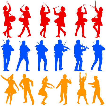 violinist: Color silhouettes of beautiful mans and womans. Drummer, violinist and acrobat on white background. Vector illustration.