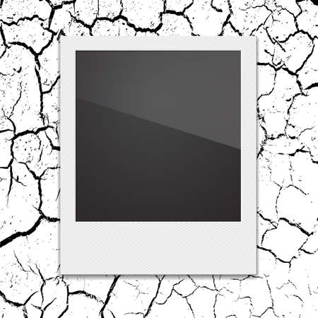 polaroid frame: Retro Polaroid photo frame on the background cracks desert. Vector illustration