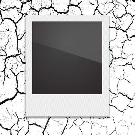 poloroid: Retro Polaroid photo frame on the background cracks desert. Vector illustration