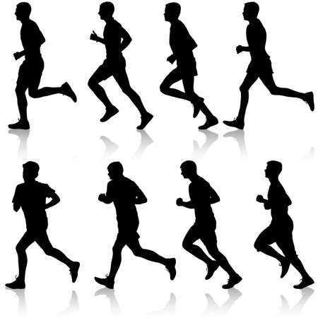 runners: Set of silhouettes. Runners on sprint, men. vector illustration.