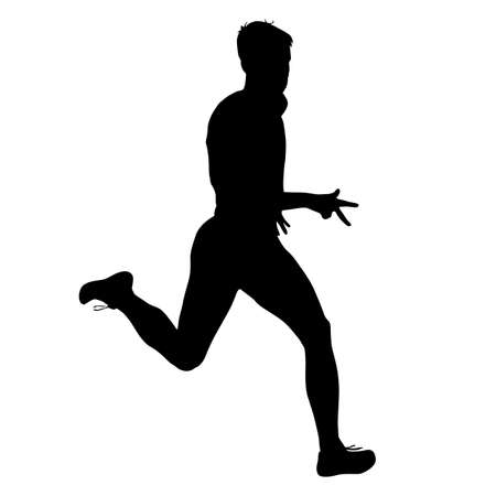 adult man: Silhouettes Runners on sprint, men. vector illustration.