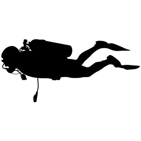 extreme sports: Black silhouette scuba divers. Vector illustration. Illustration
