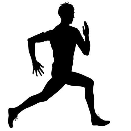 runner: Silhouettes Runners on sprint, men. vector illustration.