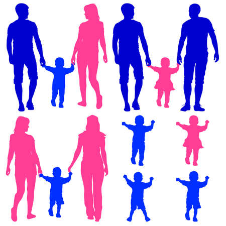 Blue, pink silhouettes Gay, lesbian couples and family with children on white background. Vector illustration. Illustration