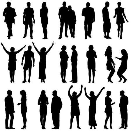persona: Siluetas negras de hermosas mans y la mujer en el fondo blanco. Ilustración del vector.