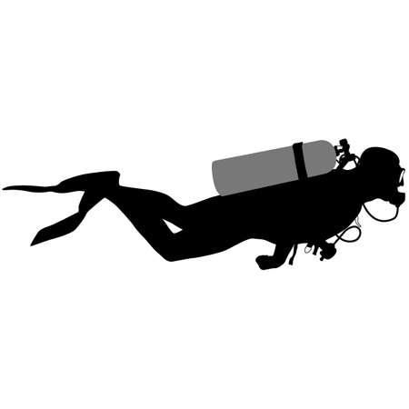 Black silhouette scuba divers. Vector illustration. Vectores