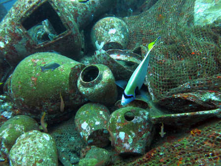 shipwreck: Massive shipwreck, sits on a sandy seafloor in bali Stock Photo