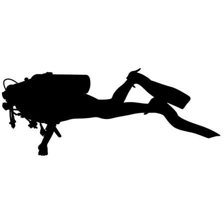 inmersion: Los buzos silueta Negro. Ilustraci�n del vector.