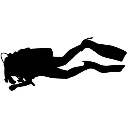 immersion: The Black silhouette scuba divers. Vector illustration.