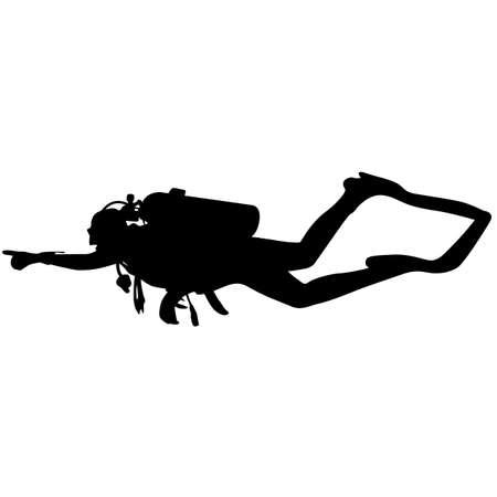 divers: The Black silhouette scuba divers. Vector illustration.