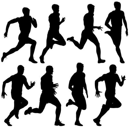 road runner: Set of silhouettes Runners on sprint, men. vector illustration.
