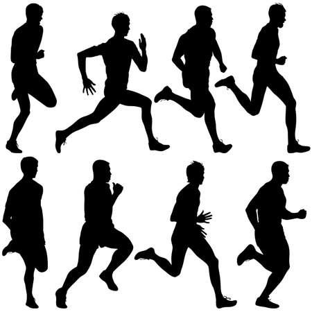 sprint: Set of silhouettes Runners on sprint, men. vector illustration.