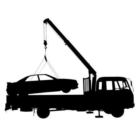 roadside assistance: Black silhouette Car towing truck a  Vector illustration.