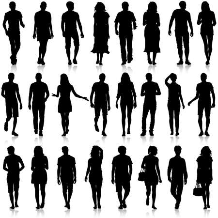 Black silhouettes of beautiful mans and womans on white background. Vector illustration. Çizim