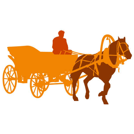chariot: Silhouette  horse and carriage  with coachman. Vector illustration.
