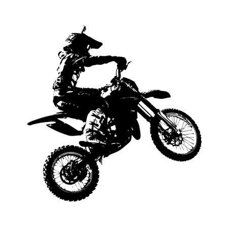 Rider participates motocross championship  Vector illustration.