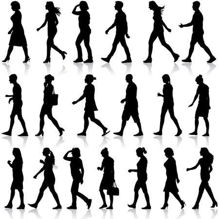 Black silhouettes of beautiful mans and womans on white background. Vector illustration. 일러스트