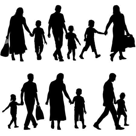 black family: Black silhouettes Family on white background. Vector illustration. Illustration