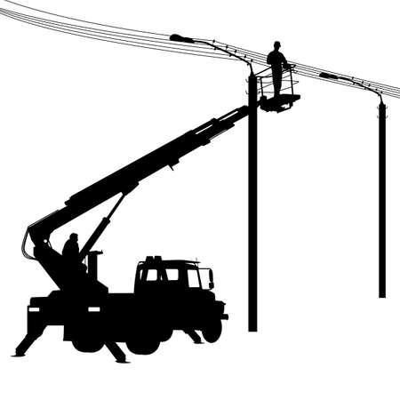 heights job: Electrician, making repairs at a power pole. Vector illustration.
