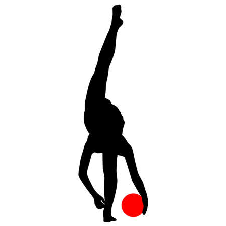 beauty contest: Silhouette girl  gymnast with the ball. Vector illustration.