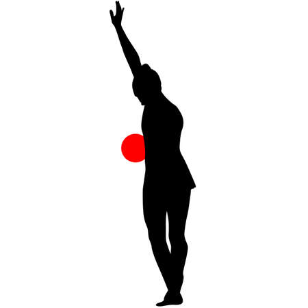 calisthenics: Silhouette girl  gymnast with the ball. Vector illustration.