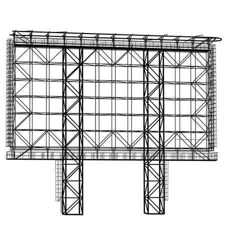 Silhouet van de structuur van het staal billboard. Vector illustratie.