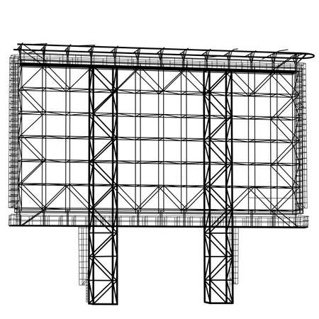 metal steel: Silhouette of Steel structure billboard. Vector  illustration. Illustration