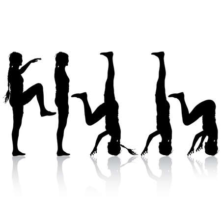 black woman: Black silhouette  woman in yoga pose on white background. Vector illustration.
