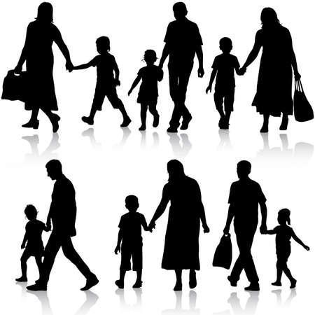 Noir silhouettes famille sur fond blanc. Vector illustration.
