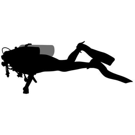 saboteur: The Black silhouette scuba divers. Vector illustration.