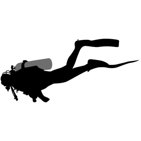 special forces: The Black silhouette scuba divers. Vector illustration.