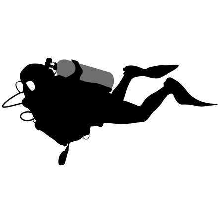 oxygen mask: The Black silhouette scuba divers. Vector illustration.