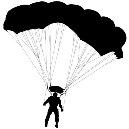 parachute jump: Skydiver, silhouettes parachuting vector illustration Illustration